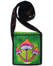 Mushrooms Embroideed bag, glow in UV