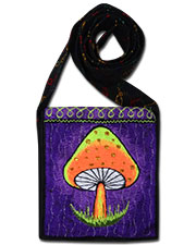 Mushroom Embroideed bag, glow in UV