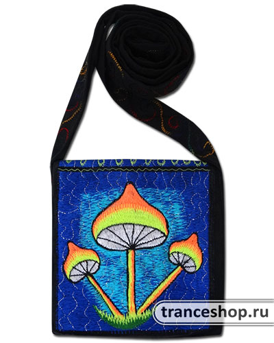 Mushrooms Embroideed bag, glow in UV