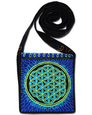 Flower of Life Embroideed bag, glow in UV