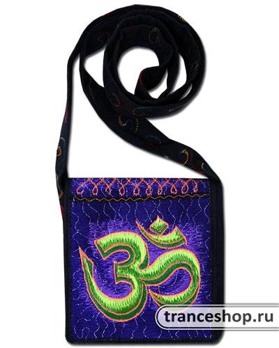 Om Embroideed bag, glow in UV