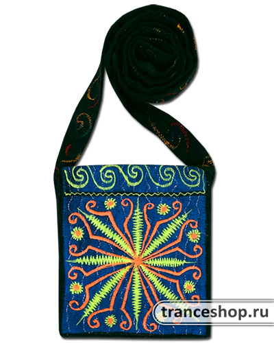 Flower Embroideed bag, glow in UV
