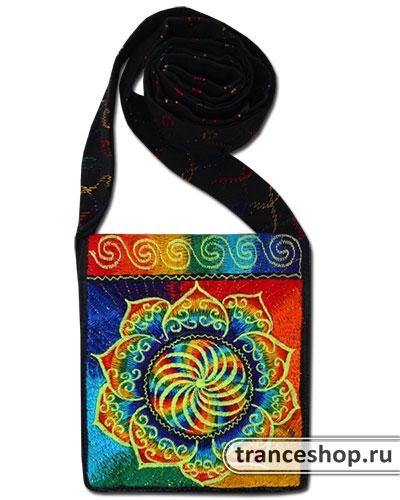 Rainbow Mandala Embroideed bag, glow in UV