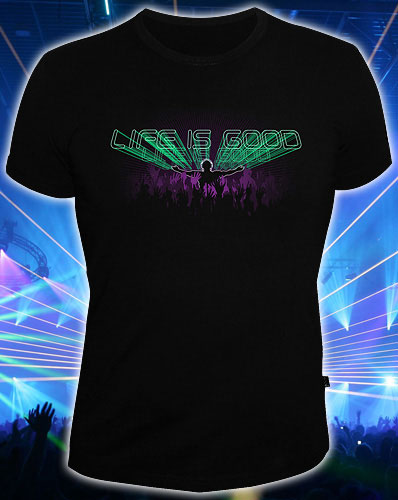 Life is Good T-shirt, glow in dark & UV