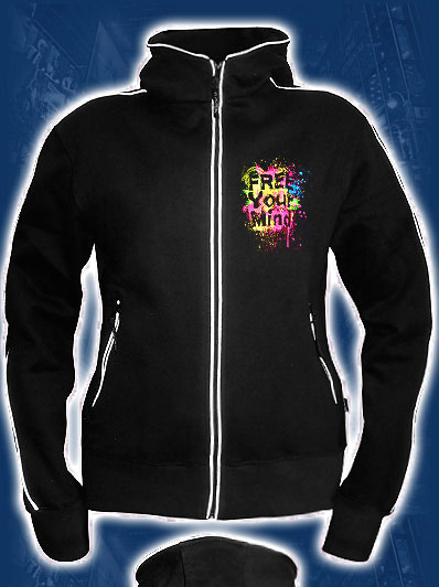 Free Your Mind Hoodie, glow in dark & UV