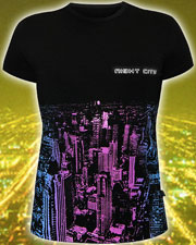 Night City T-shirt, glow in UV