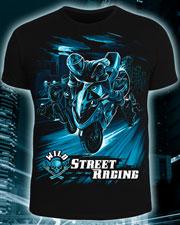 Футболка «Wild Street Racing», светится в УФ