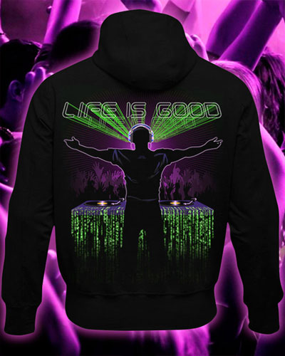 Life is Good Hoodie, glow in dark & UV