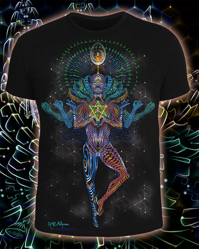 Mechanical Lotus T-shirt, glow in dark & UV