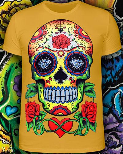 Sugar Skull T-shirt, glow in dark & UV