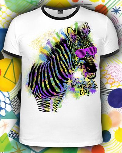 Футболка «Zebra WazzzUP!», светится в УФ