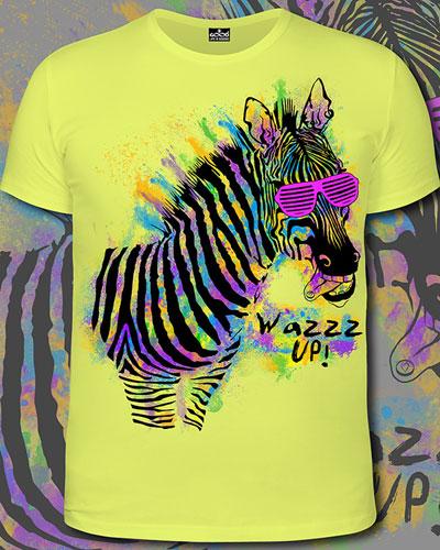 Zebra WazzzUP! T-shirt, glow in UV
