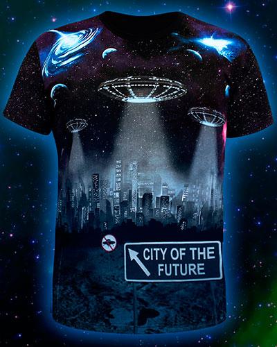 Футболка «Город будущего», светится в темноте и УФ