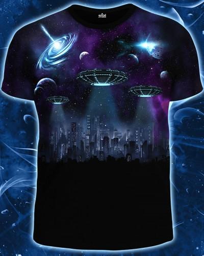Футболка Город будущего, светится в темноте и УФ