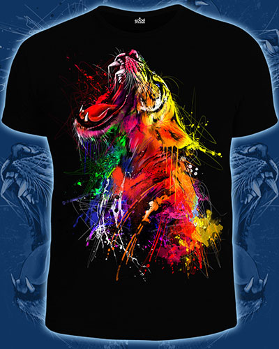 Tiger T-shirt, glow in UV