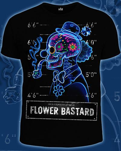 Футболка «Flower Bastard», светится в темноте и УФ