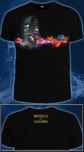 Waves of Sound T-shirt, glow in UV