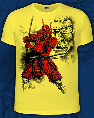 Samurai T-shirt, glow in UV