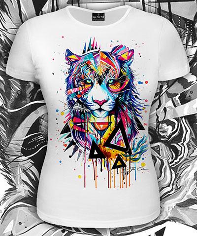 Футболка «Радужный тигр», светится в УФ