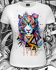 Rainbow Tiger T-shirt, glow in UV