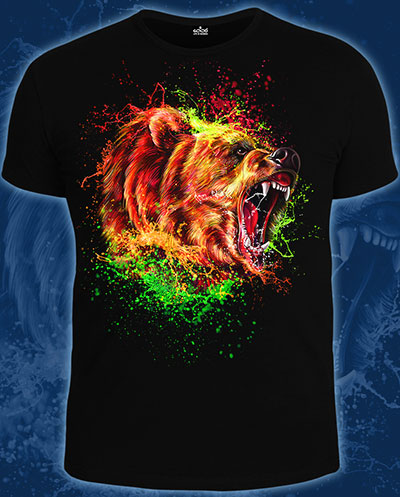 Bear T-shirt, glow in UV