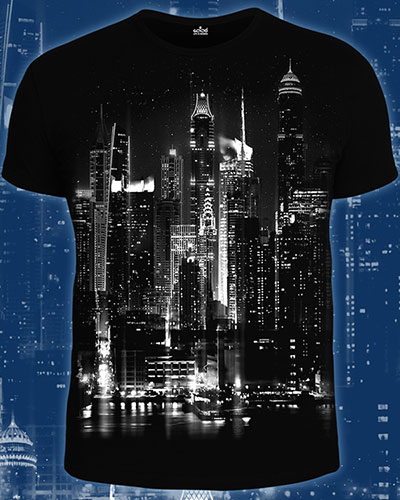 Футболка «Огни ночного города», светится в темноте и УФ