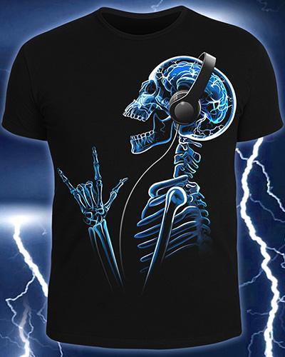 Футболка «X-Skeleton», светится в темноте и УФ
