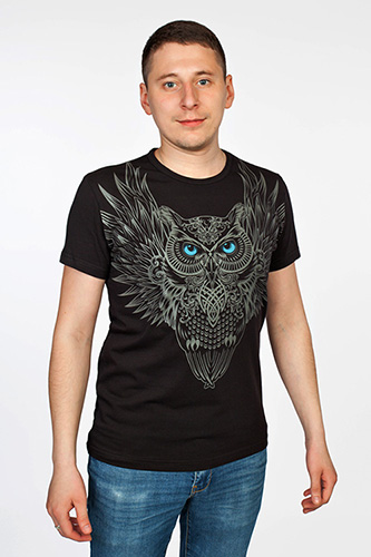 Owl T-shirt, glow in dark & UV