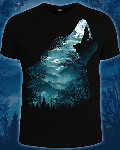 Call of the Moon T-shirt, glow in dark & UV