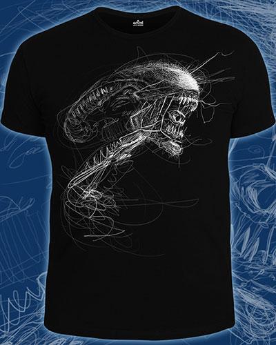 Alien Art T-shirt, glow in dark & UV