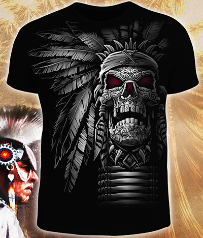 Warriors Skull T-shirt, glow in dark & UV