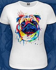 Pug T-shirt, glow in UV