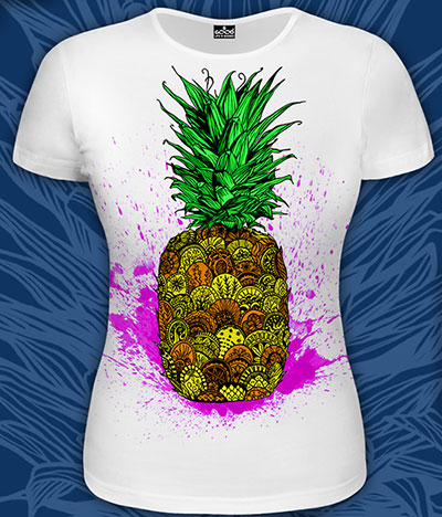 Pineapple T-shirt, glow in UV