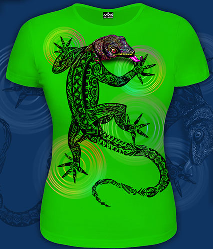 Lizard T-shirt, glow in UV