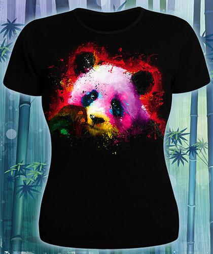 Panda T-shirt, glow in UV