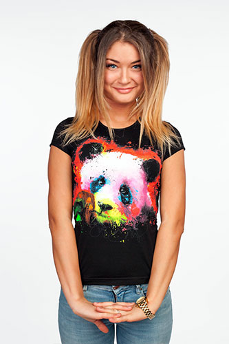 Panda T-shirt, glow in UV