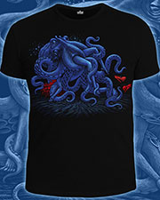 Octopus T-shirt, glow in UV