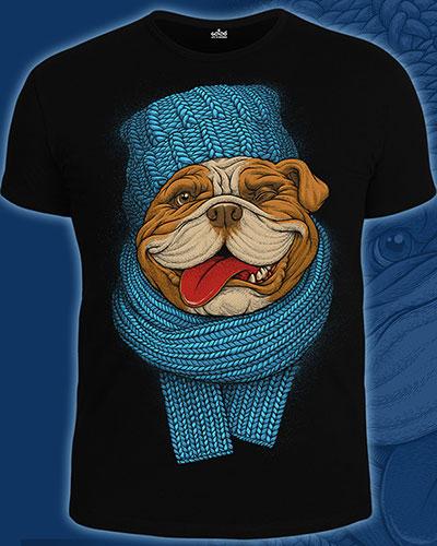 Bulldog T-shirt, glow in UV