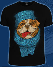 Bulldog T-shirt, glow in UV