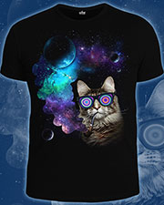 Space Cat T-shirt, glow in dark & UV