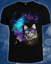 Футболка «Космический кот», светится в темноте и УФ