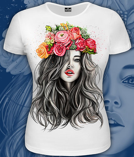 Girl with Flowers T-shirt, glow in UV