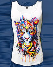 Rainbow Tiger Singlet, glow in UV