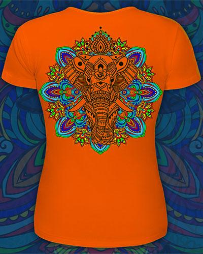 Indian Elephant T-shirt, glow in UV