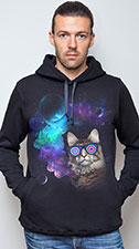 Space Cat Hoodie, glow in UV