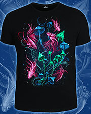 Mushroom Ocean T-shirt, glow in dark & UV