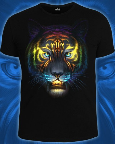Cosmic Tiger T-shirt, glow in dark & UV