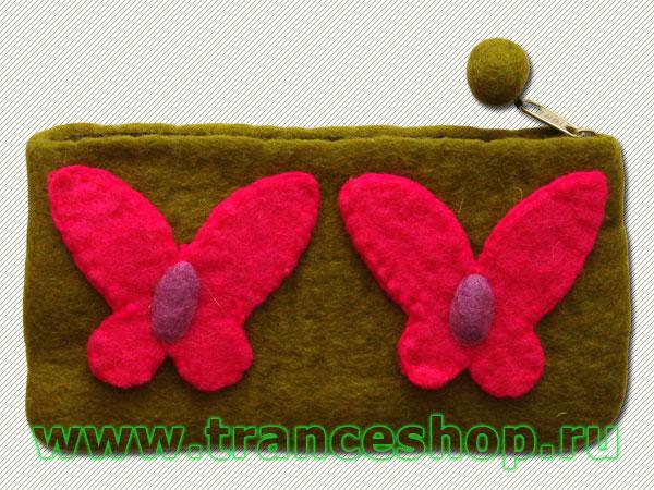 Butterflies Felt purse