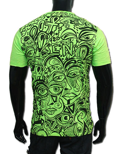Faces T-shirt, glow in UV