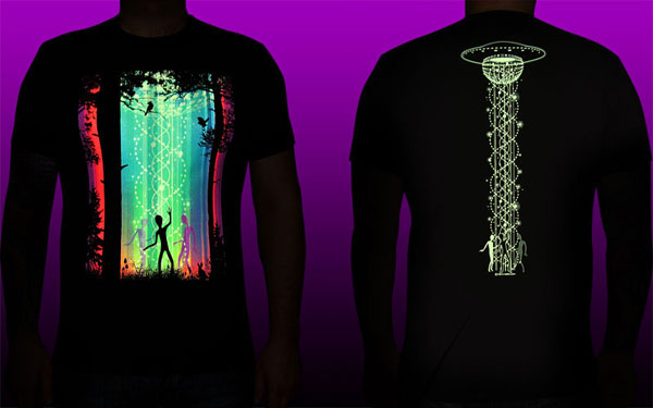 Dancing Galaxy T-shirt, glow in dark & UV